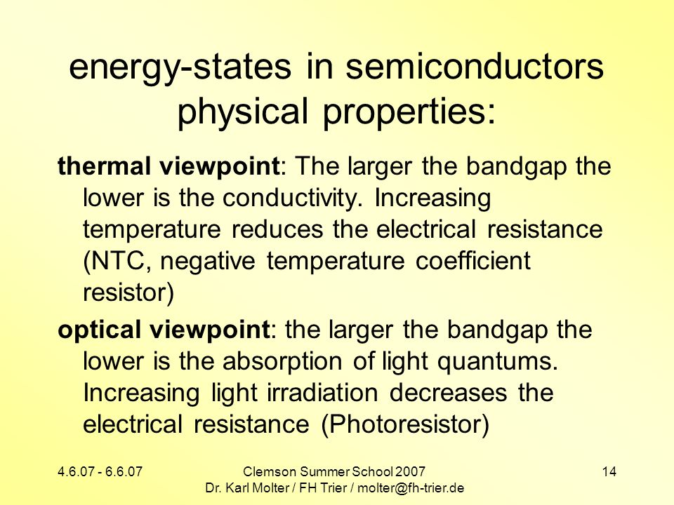 energy-states in semiconductors physical properties: