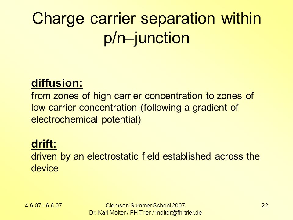 Charge carrier separation within p/n–junction