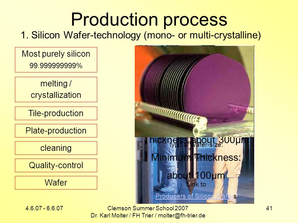 Production process 1. Silicon Wafer-technology (mono- or multi-crystalline) Most purely silicon %