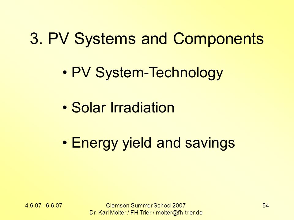 3. PV Systems and Components
