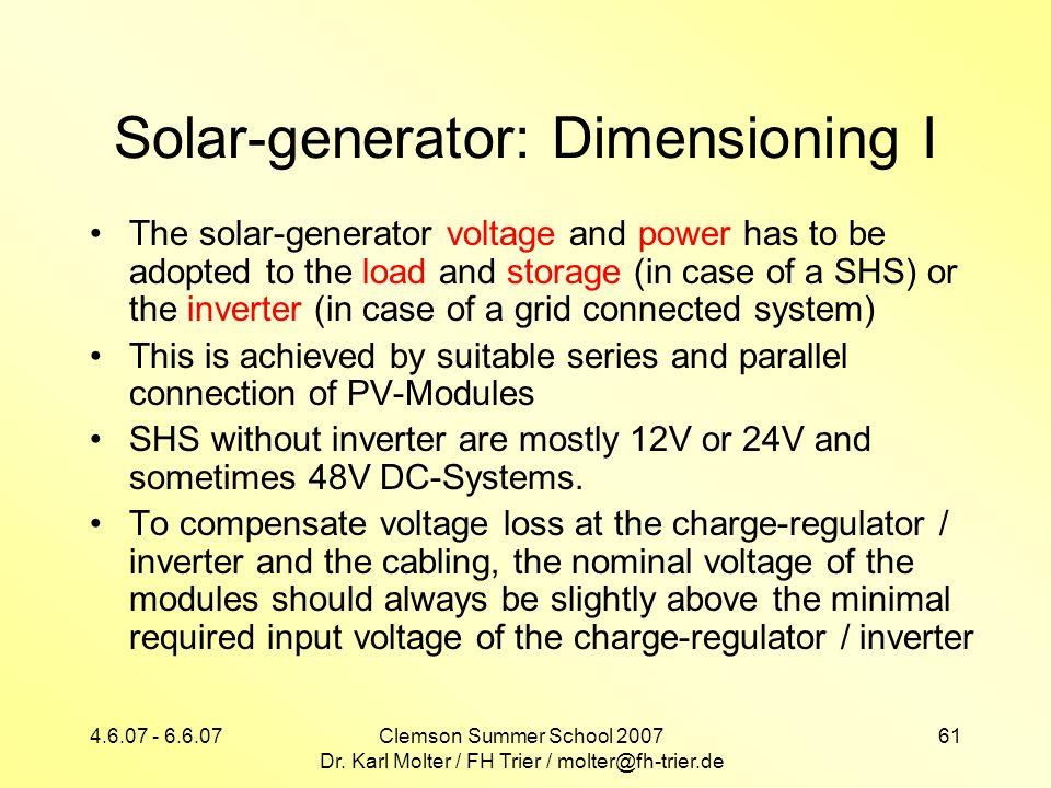 Solar-generator: Dimensioning I