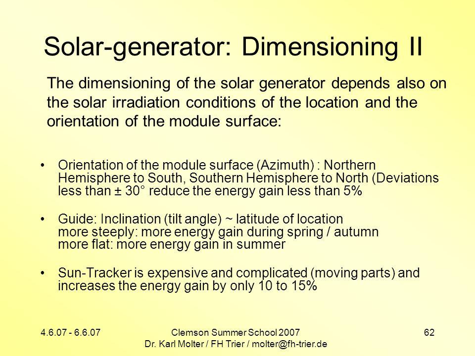 Solar-generator: Dimensioning II