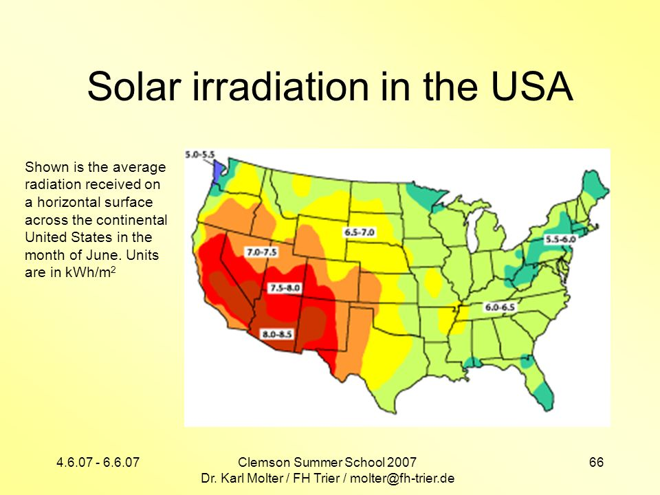 Solar irradiation in the USA