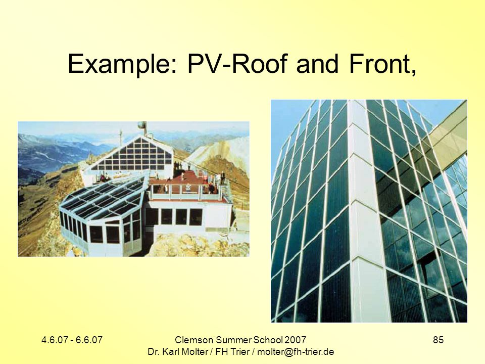 Example: PV-Roof and Front,