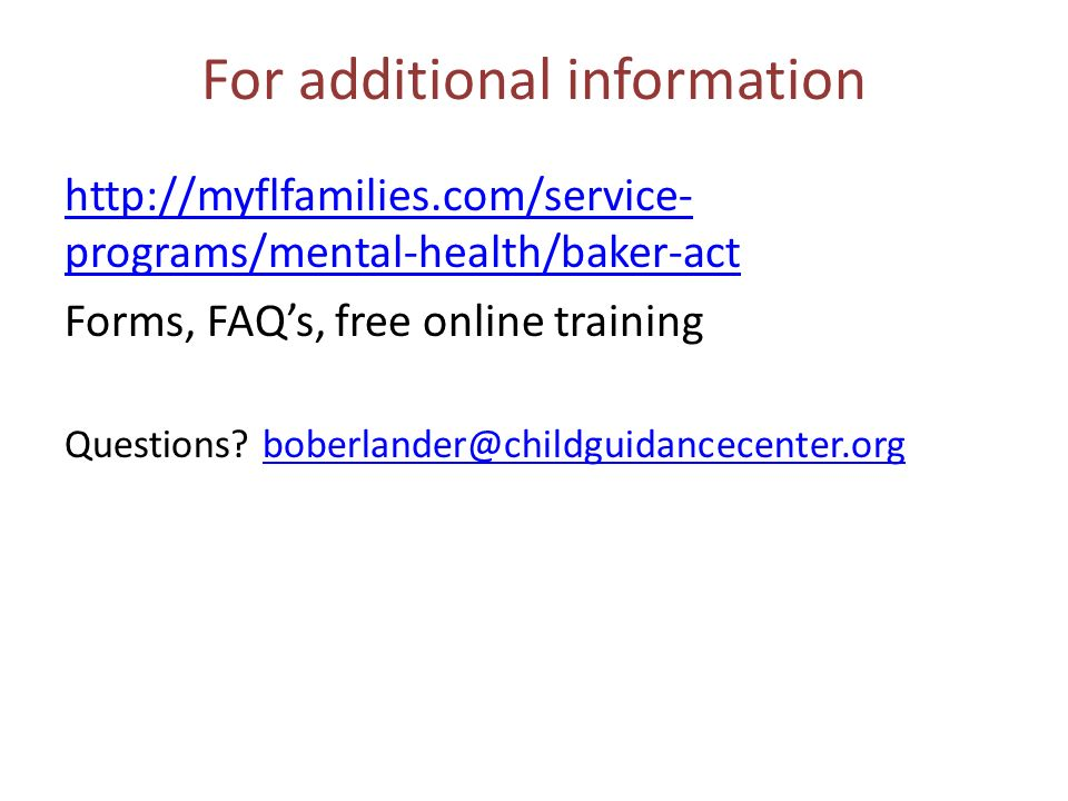 The Baker Act Demystified - ppt video online download