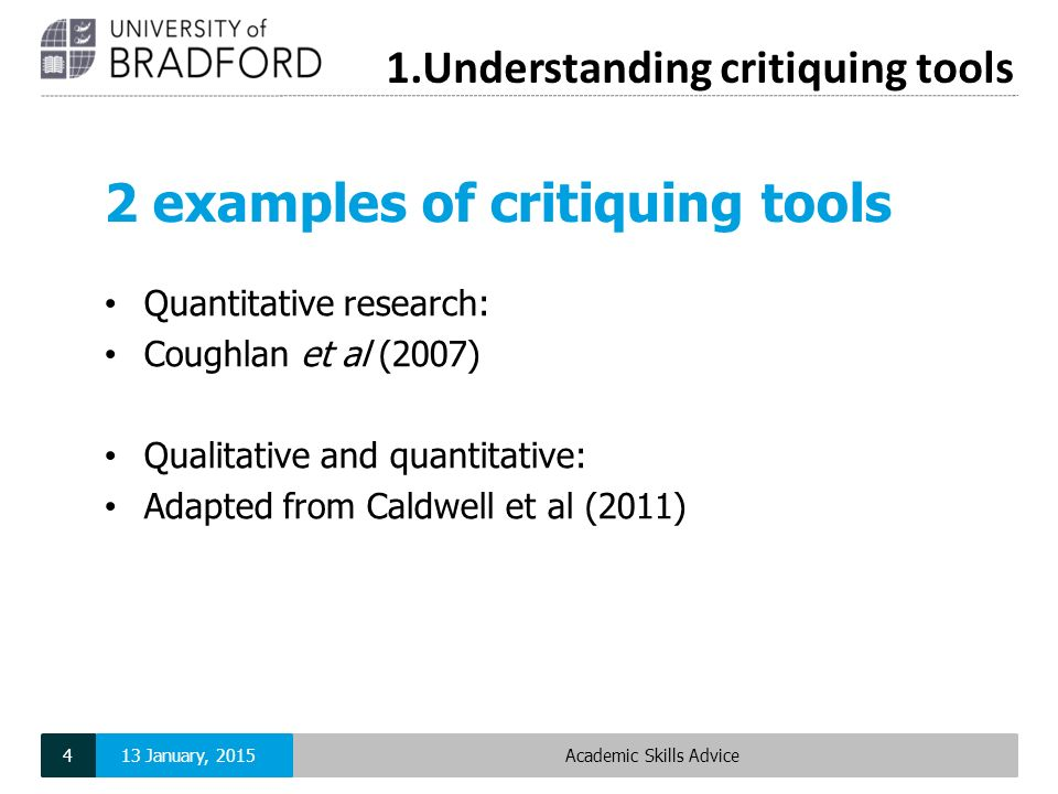 critique of quantitative research study essays Prepare a critical analysis of a quantitative study focusing on protection of human participants, data collection, data management and analysis, problem statement, and interpretation of findings the quantitative research article can be from your previous literature review or a new peer-reviewed article.