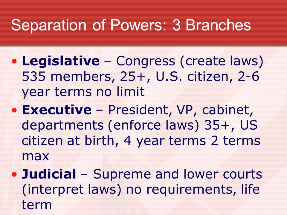 Separation of Powers: 3 Branches