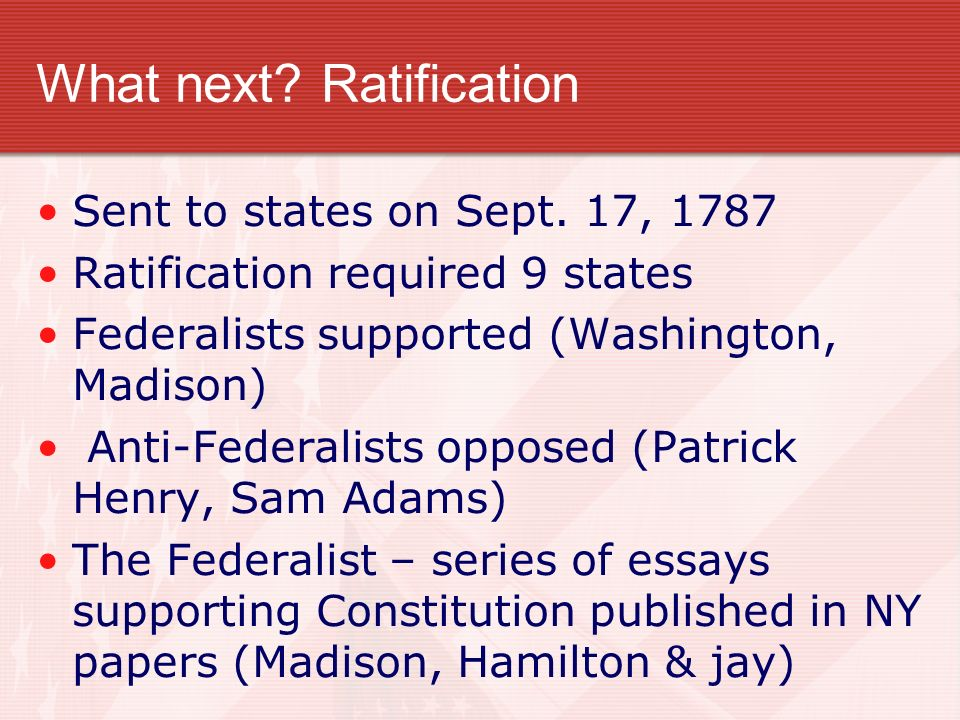 What next Ratification