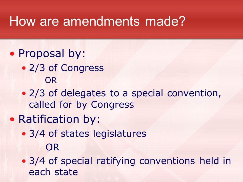 How are amendments made