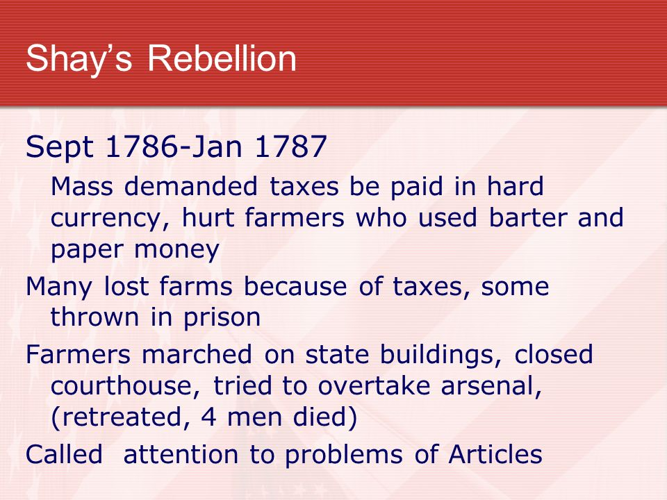 shays rebellion essay Shays' rebellion had a lasting effect on massachusetts and also on the federal government a limited time offer get authentic custom essay samplewritten strictly according to your requirements.
