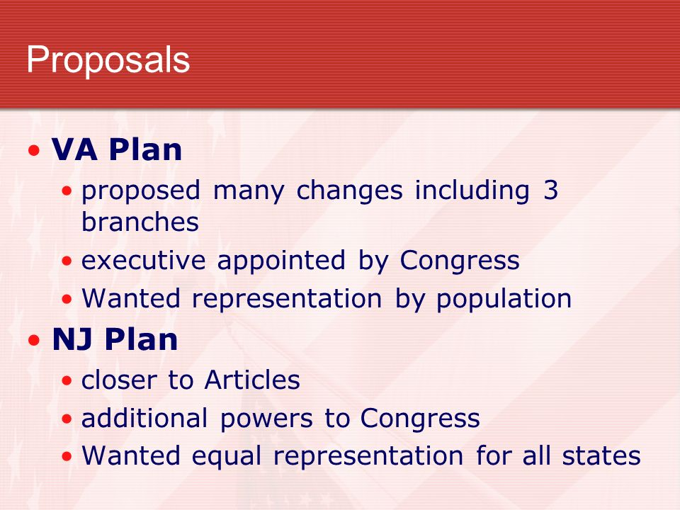 Proposals VA Plan NJ Plan proposed many changes including 3 branches