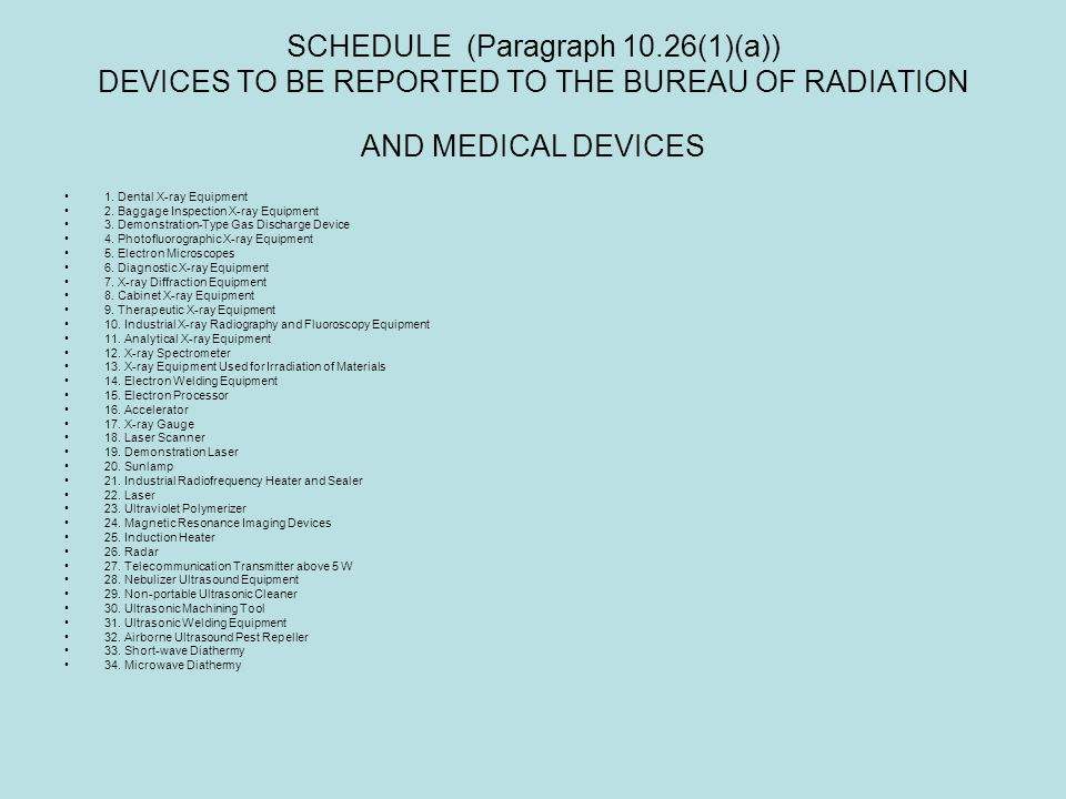 SCHEDULE (Paragraph 10.26(1)(a)) DEVICES TO BE REPORTED TO THE BUREAU OF RADIATION AND MEDICAL DEVICES