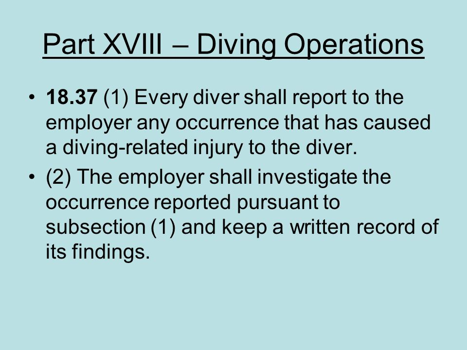 Part XVIII – Diving Operations