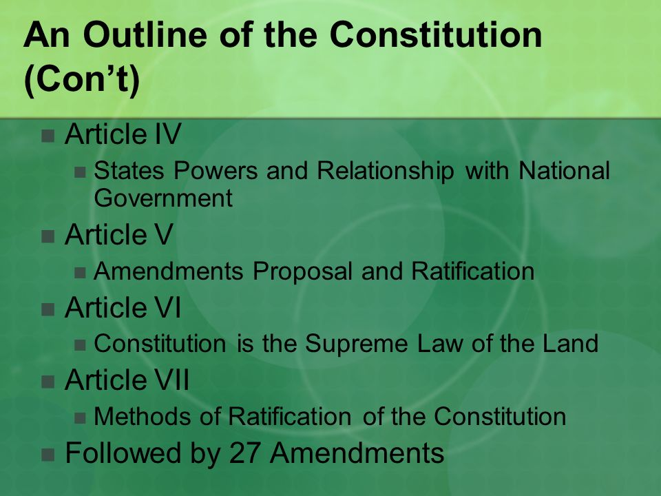 chapter 7 outline the constitution and Chapter 7: launching the new republic, 1789-1800 main idea: america gets back on its feet under a new system of government, the constitution, and faces the problems of a new republic: balance of power, foreign entanglements, and party politics foreign policy o spain conquers more territory in north america, hoping to gain all the land from the pacific coast (california) to louisianan.