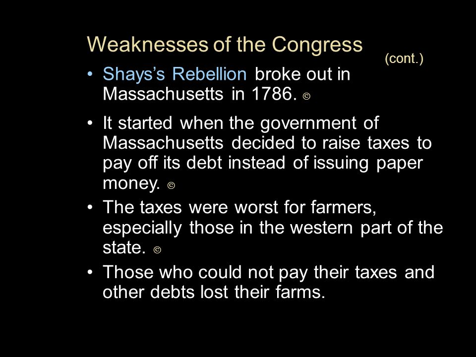 Weaknesses of the Congress