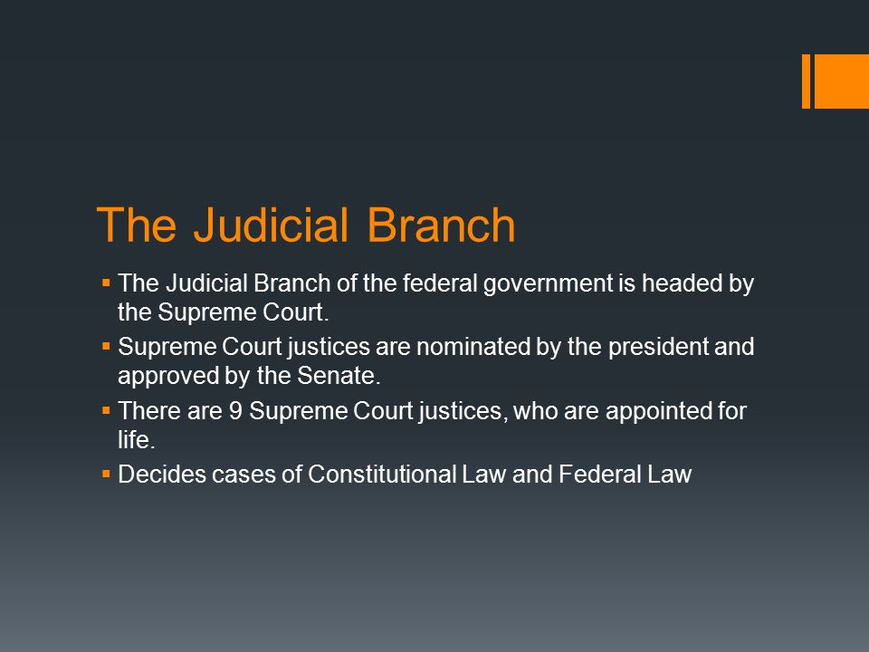 The Judicial Branch The Judicial Branch of the federal government is headed by the Supreme Court.
