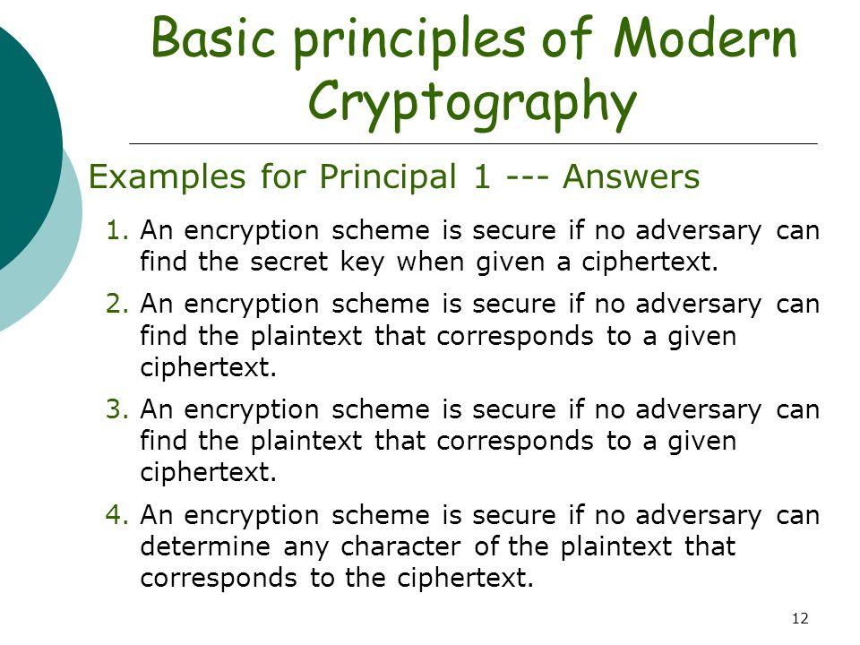 Basic Principles Of Modern Cryptography