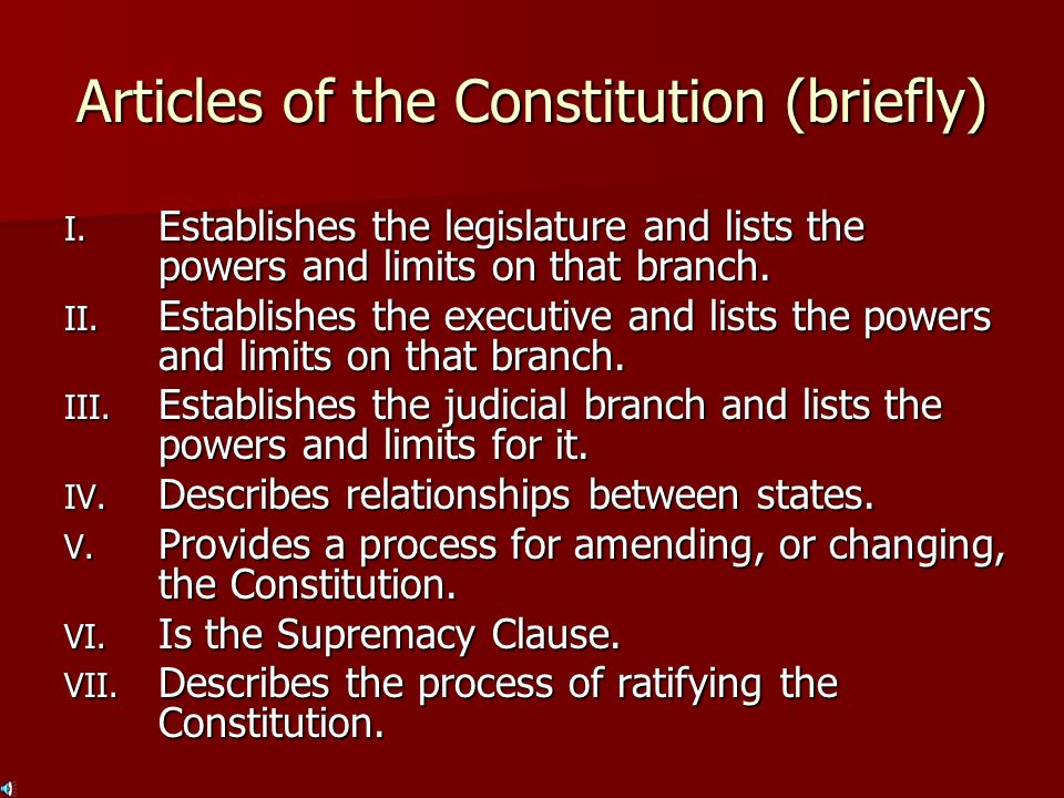 Articles of the Constitution (briefly)