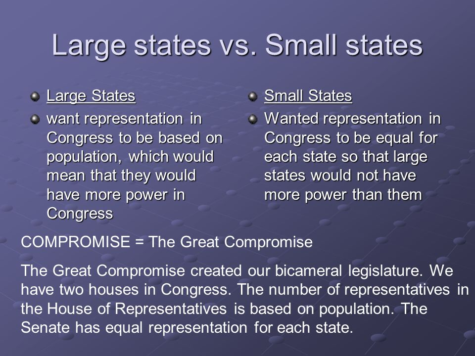 smaller states vs big states The smaller states favored the new jersey plan according to students will explain what the great compromise was and evaluate its significance.