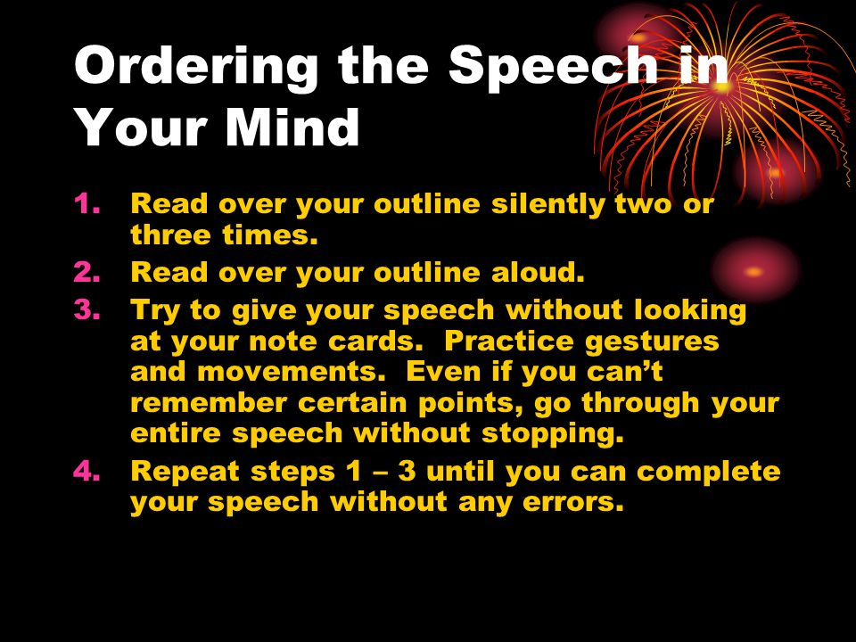 Ordering the Speech in Your Mind