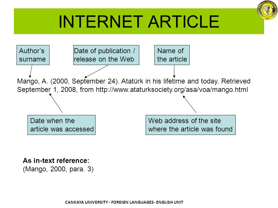 how to find the publication date of an online article