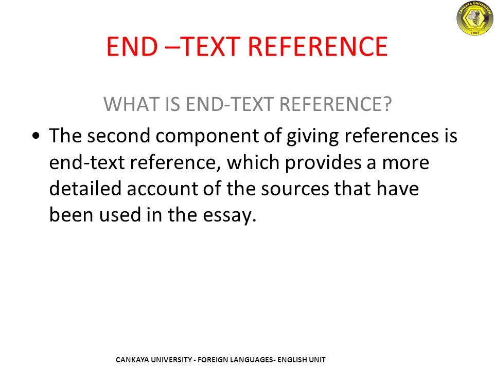 how to make end text reference