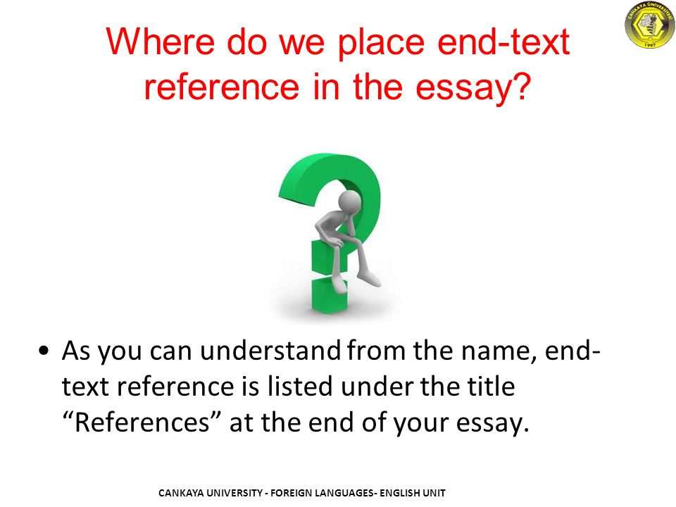 citation end text reference ppt video online  where do we place end text reference in the essay