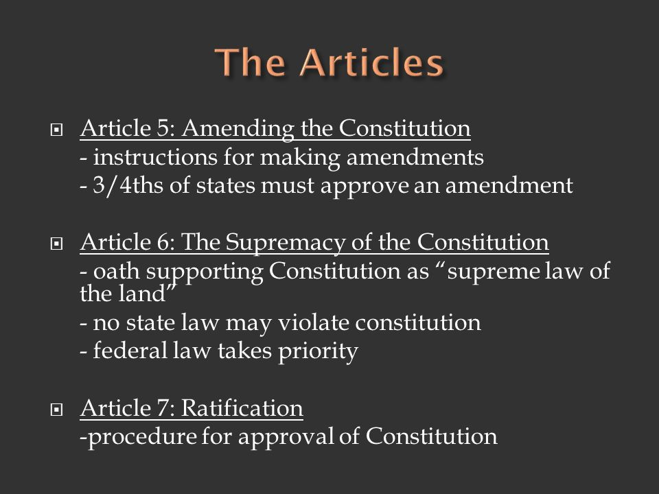 The Articles Article 5: Amending the Constitution