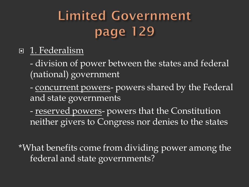 Limited Government page 129
