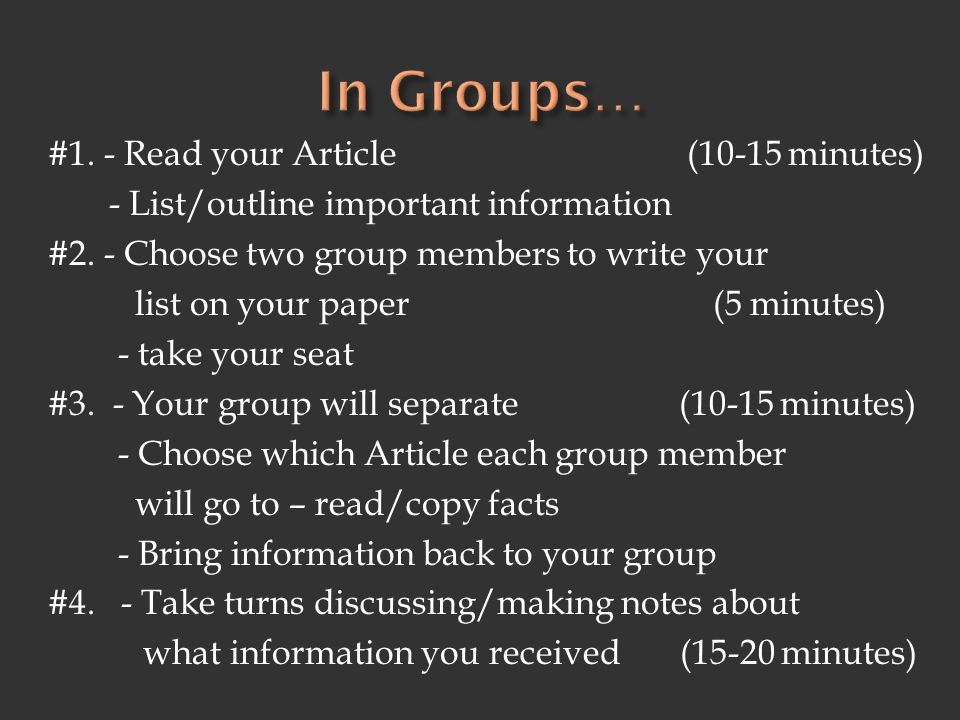 In Groups…