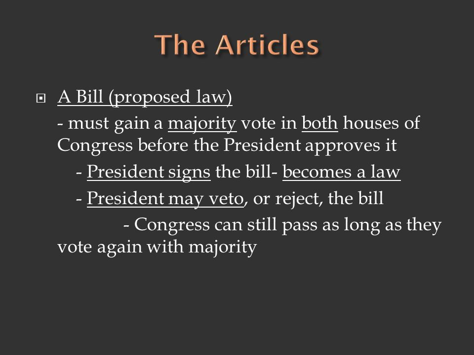 The Articles A Bill (proposed law)