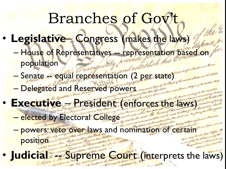 Branches of Gov't Legislative– Congress (makes the laws)