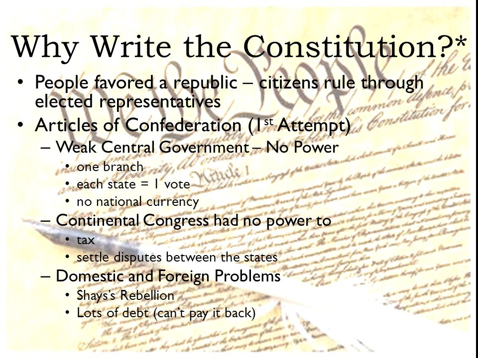 Why Write the Constitution *