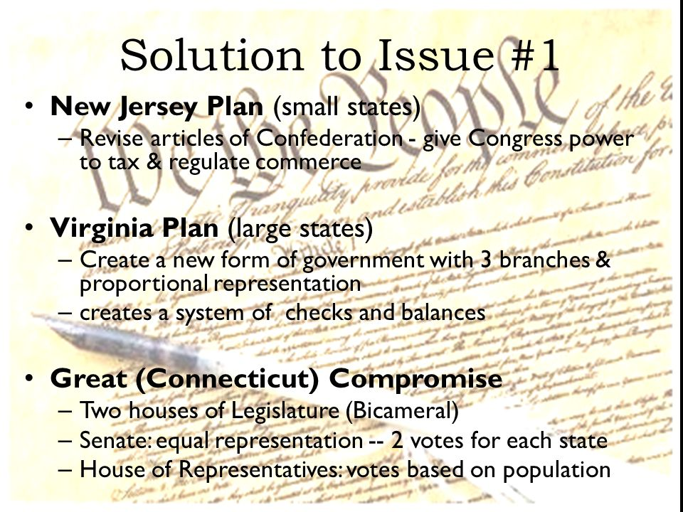 Solution to Issue #1 New Jersey Plan (small states)