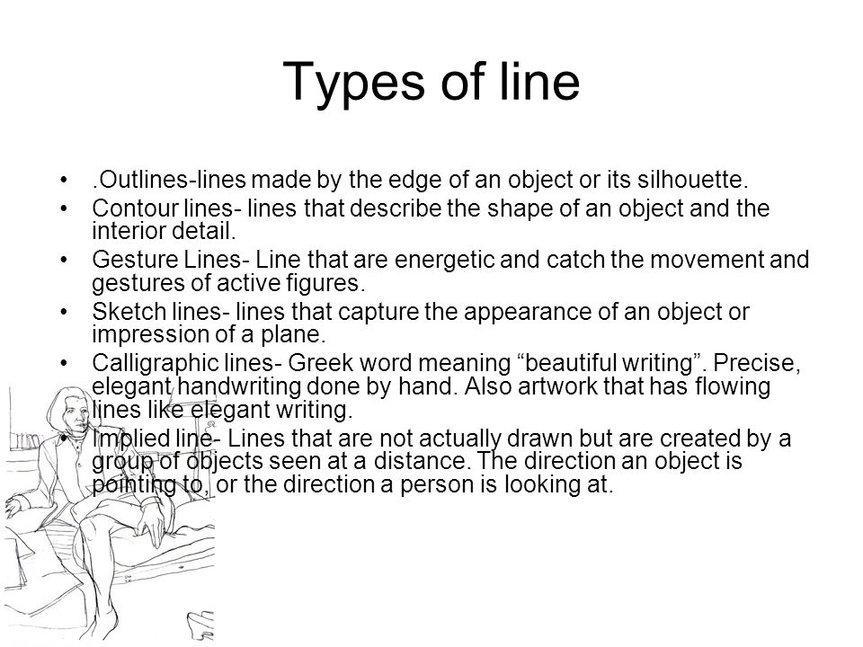 Line Art Element Definition : Line an element of art that is used to define shape