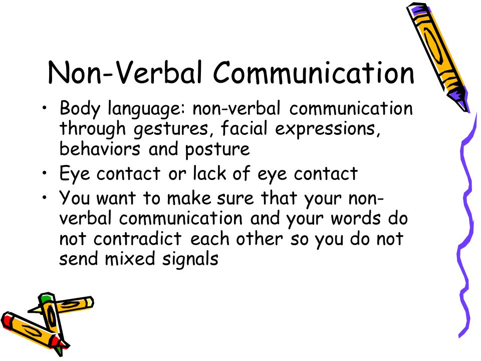 non verbal body language Examples of non verbal communication used to guide your children positively use types of nonverbal communication like body language, gestures and tone of voice let.