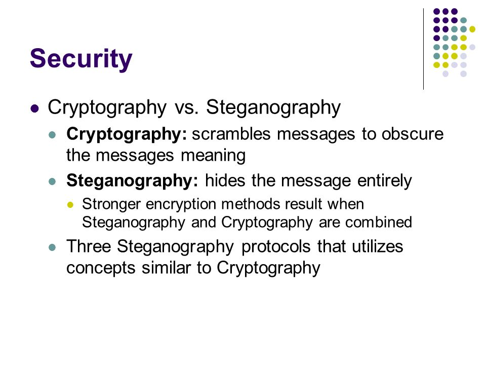 the key concepts of steganography It centers on the concept of hiding a introduced the concept of steganography and steganalysis as well as the the stego-key is used to generate.