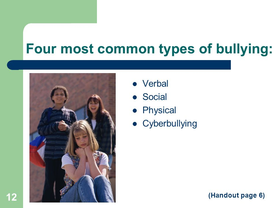 Four most common types of bullying: