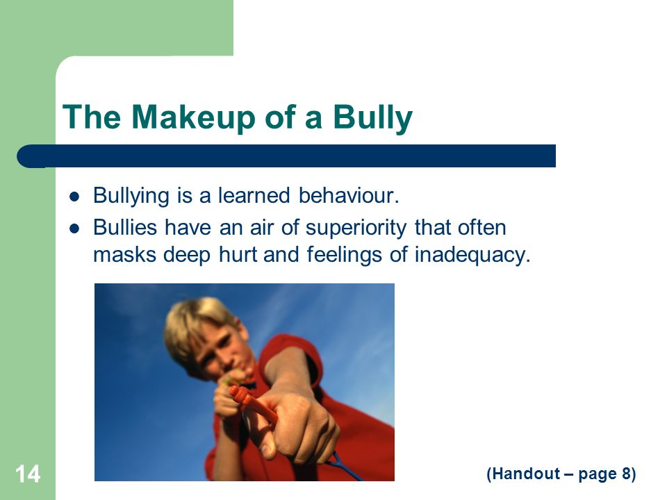 The Makeup of a Bully Bullying is a learned behaviour.