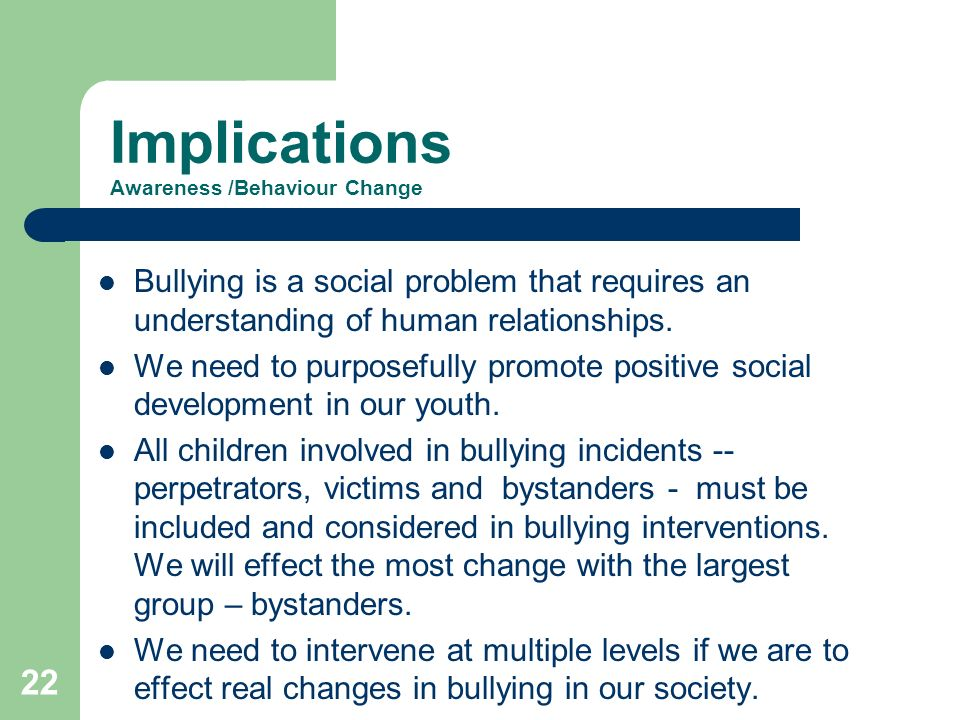 Implications Awareness /Behaviour Change