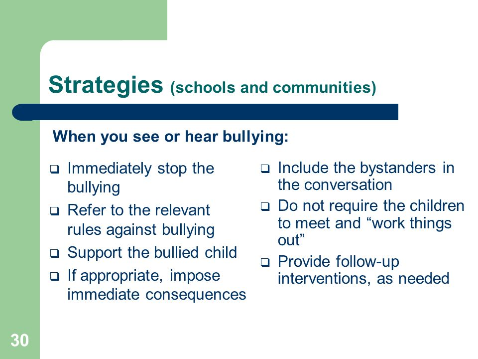 Strategies (schools and communities)