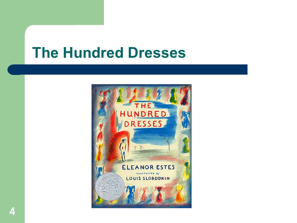 The Hundred DressesAnother excellent resource that is useful when talking to younger children about bullying is the book The Hundred Dresses .