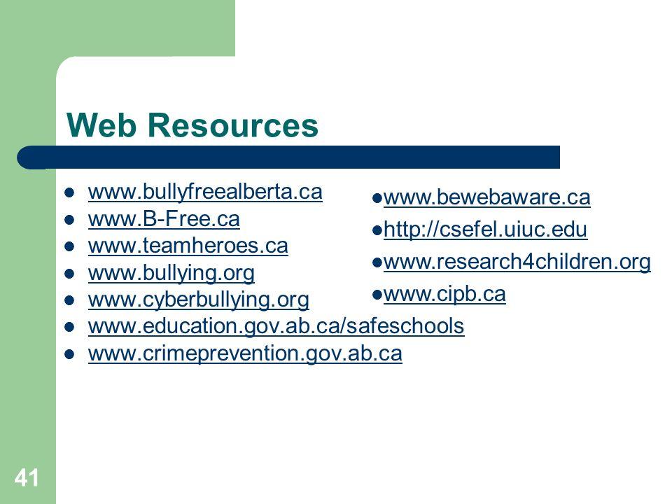 Web Resources www.bullyfreealberta.ca www.B-Free.ca www.teamheroes.ca