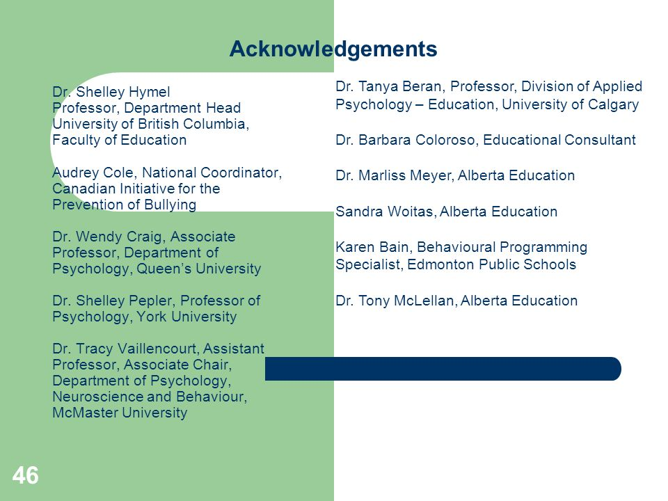 AcknowledgementsDr. Tanya Beran, Professor, Division of Applied Psychology – Education, University of Calgary.