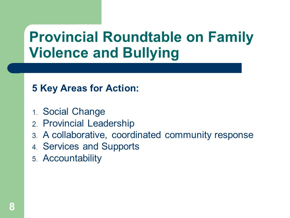 Provincial Roundtable on Family Violence and Bullying