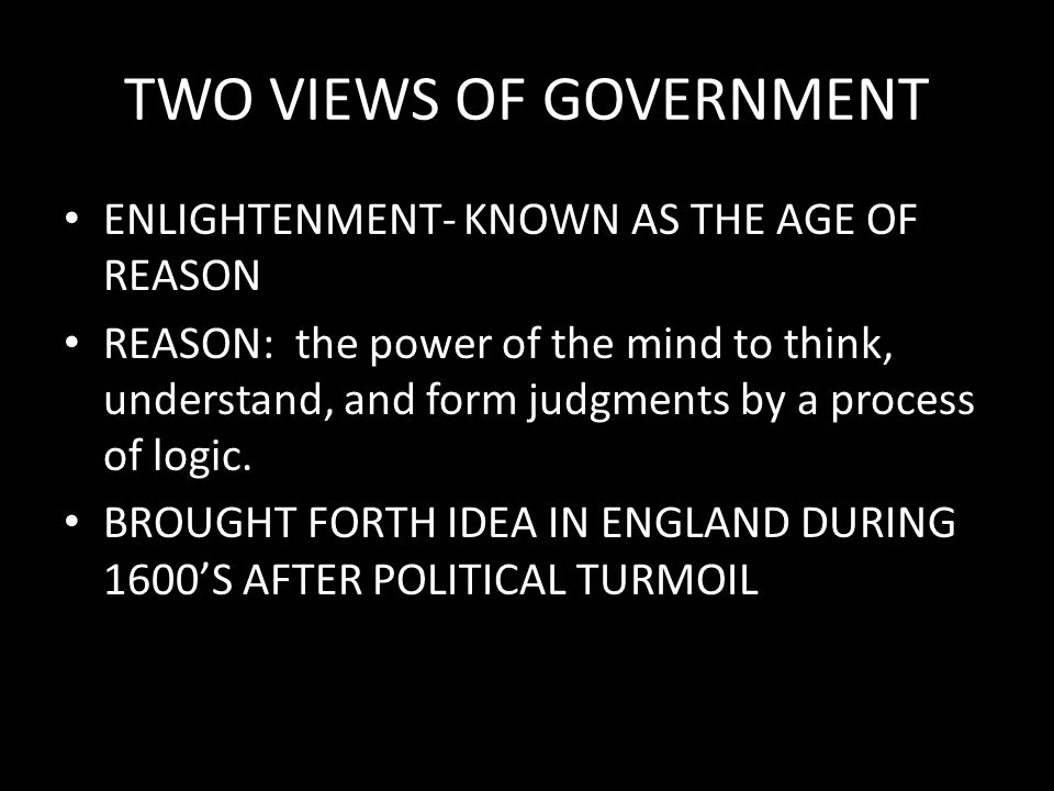 TWO VIEWS OF GOVERNMENT