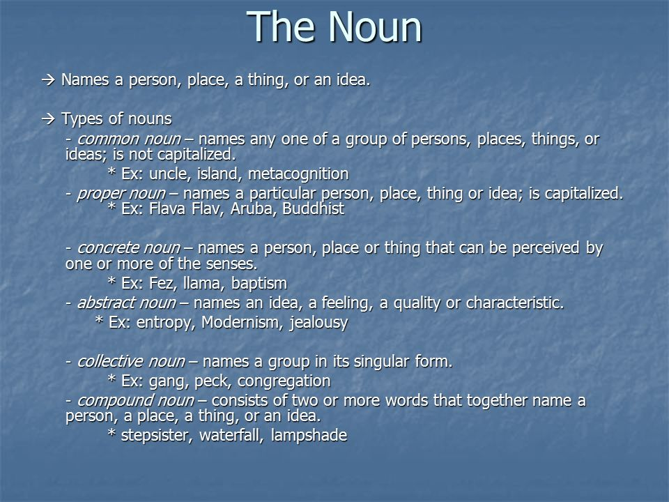 The Noun  Names a person, place, a thing, or an idea.