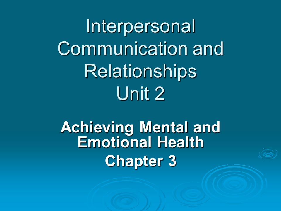 Interpersonal Communication and Relationships Unit 2