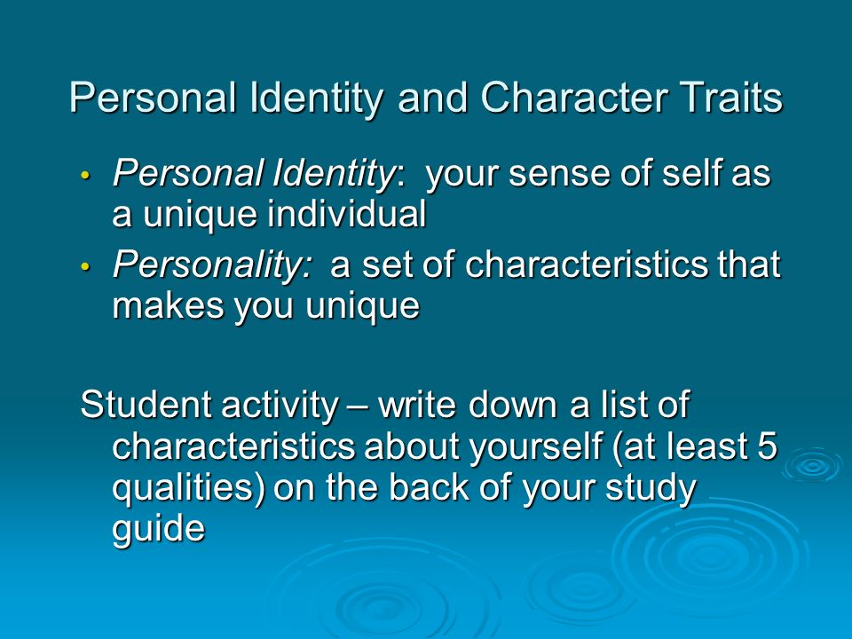 Personal Identity and Character Traits