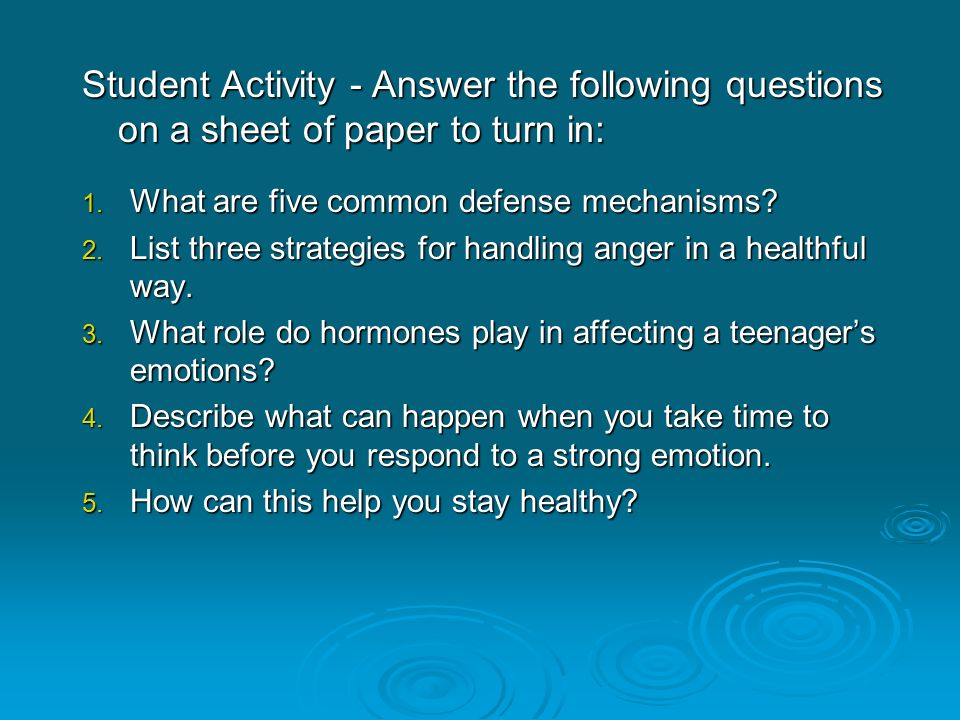 Student Activity - Answer the following questions on a sheet of paper to turn in: